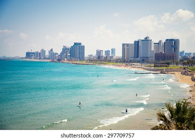 view from the shore to the modern district of Tel Aviv