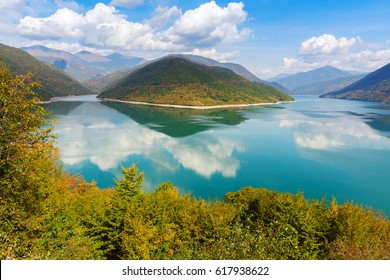 View of the shore of the reservoir Zhinvali.Georgia