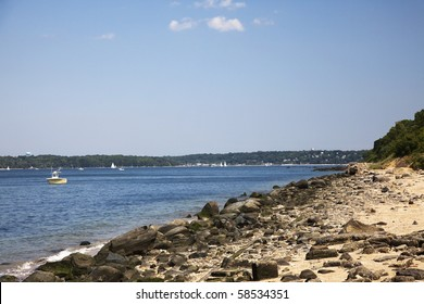 View of the shore at Sands Point Preserve. Long Island Sound, Long Island, New York
