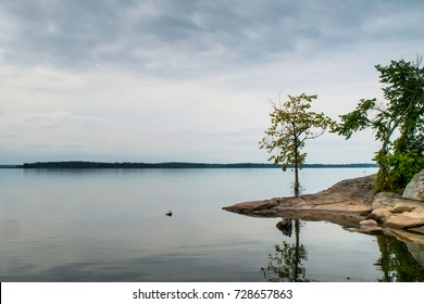 View from the shoreline along Thousand Islands Parkway in Ontario, Canada