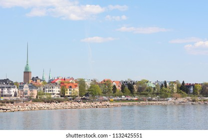 View from the shoreline of Munkkisaari district in Helsinki, across the Finnish Gulf to Eira district