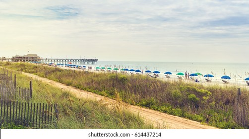 View of the shoreline at Myrtle Beach in South Carolina