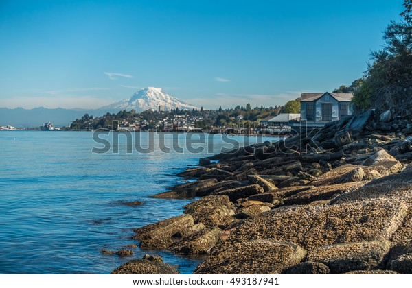 A view of the shoreline in Ruston, Washington. Mount Rainier can be seen in the distance.