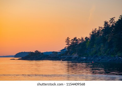 View of the shoreline of Vesuvius Bay on Salt Spring Island, British Columbia, Canada