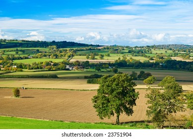 View of Shropshire hills farmland