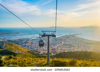 View of the sicilian city Trapani from a chair lift leading to the erice village, Italy