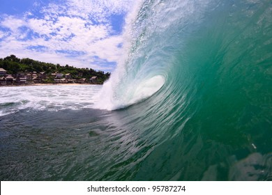 A view from the side of the barreling wave