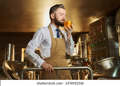 View from side of male brewer smelling delicious golden beer while working at factory. Bearded man standing in modern brewery and manufacturing ale. Concept of production and distillation.
