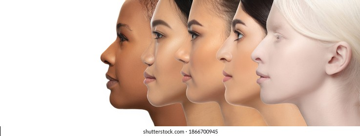 View from side. Multi-ethnic beauty. Collage of different ethnicity and beautiful young women isolated on white background. Flyer for ad. Concept of beauty, fashion, healthcare, skincare. - Shutterstock ID 1866700945