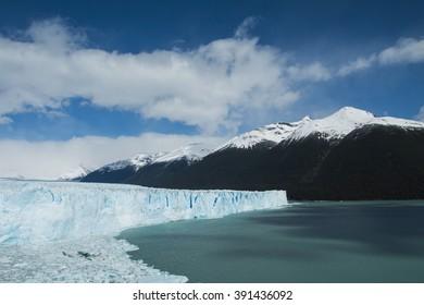 View of the side of the Perito Moreno Glacier in Argentina