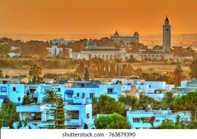 View of Sidi Bou Said and Carthage near Tunis in Tunisia