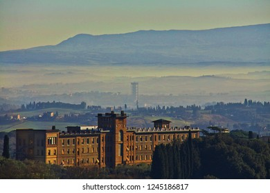 View of Siena in winter, Italy