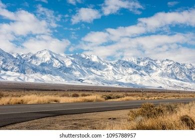 View of the SIerras in winter from highway 395