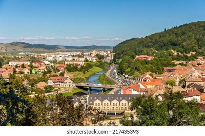 View of Sighisoara over the Tarnava river - Romania