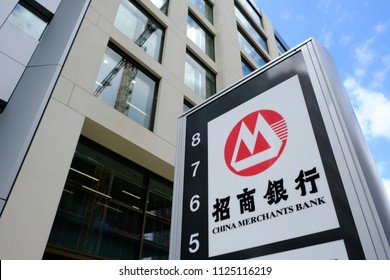 A view of the sign above the China Merchants Bank branch in Luxembourg city on Jun. 22, 2018.
