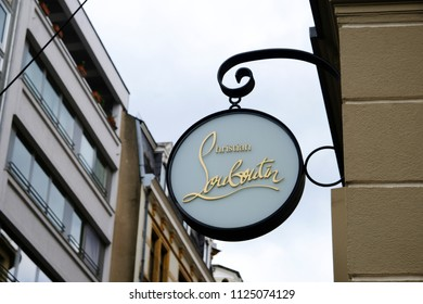 A view of the sign above the Christian Louboutin store in Luxembourg city on Jun. 22, 2018.