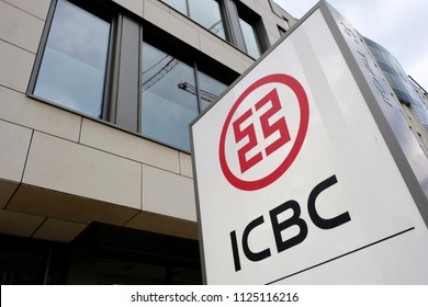 A view of the sign above the Industrial and Commercial Bank of China branch in Luxembourg city on Jun. 22, 2018.