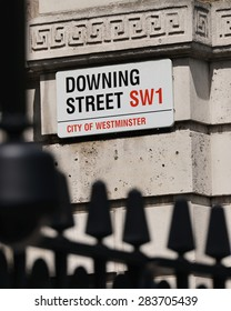 View of a Sign on Downing Street in London England