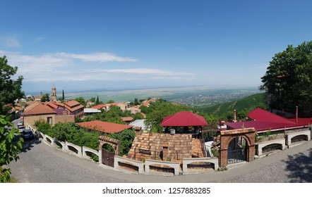 View of Signagi popular tourist attraction of Georgia. Alazani valley. Georgia's wine-growing regions. Old fortifications in Sighnaghi the capital of the wine region Kakheti in Georgia, Caucasus
