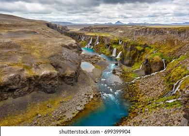 View of the Sigoldugljufur canyon of Iceland.
