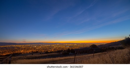 View of the Silicon Valley from Mount Hamilton at sunset