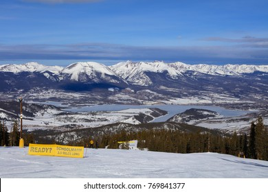 A view of Silverthorne, Colorado and Rocky Mountains from the top of Keystone Ski Resort in winter