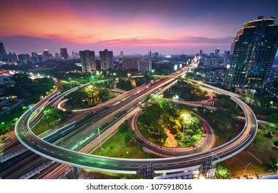 The View of Simpang Susun Semanggi Jakarta, Indonesia