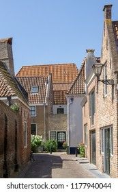 View of the 'simpelhuisstraat' (simple house street) in Middelburg, Zeeland, NLD