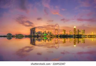 View of Singapore city skyline at sunset
