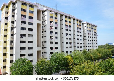 View of Singapore residential building, also known as HDB