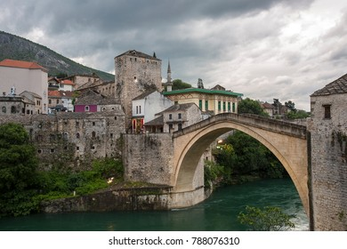 view of single-arch Old Bridge Stari Most over Neretva River, Mostar, Bosnia and Herzegovina. It was destroyed on 9 November 1993 during the Croat-Bosniak War. It is now a UNESCO World Heritage site