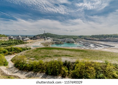 View of Sint-Pietersberg or Mount Saint Peter (Caestert plateau) and the old marl quarry with cement factory in the background in Maastricht, south Limburg, the Netherlands Holland