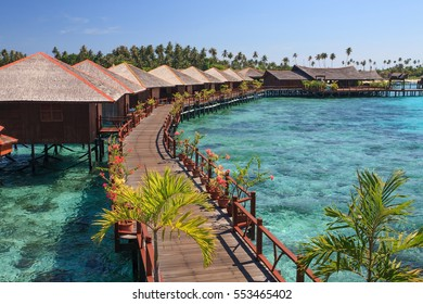 View of Sipadan water village resort at Mabul Island.