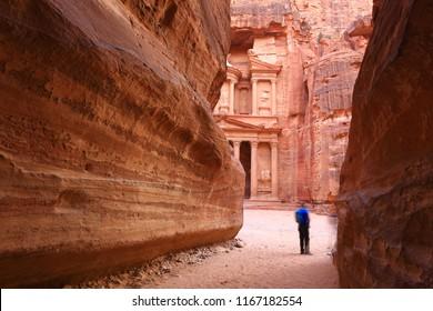 View from Siq on entrance of City of Petra, Al Khazneh - the treasury, Jordan