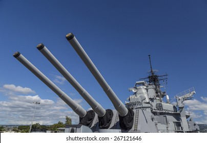 View of the sixteen inch guns on the Rear main deck of the historic battleship USS Missouri, anchored at Pearl Harbor.