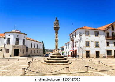 View of the sixteenth century gothic manueline style granite pillory in the town of Vila Nova de Foz Coa, Portugal