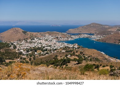 View of Skala of Patmos from Chora, Patmos, Dodekanesse, Aegean Sea, Greece