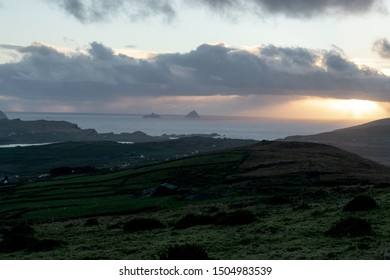 View of Skellig Islands at early evening hours from Geokaun Mountain on Valentia Island in Ireland