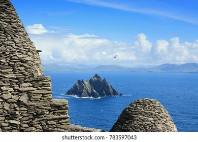 View from Skellig Michael to little Skellig, Kerry, Ireland, Europe.