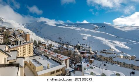 View of the ski resort in Sierra Nevada mountains in Spain