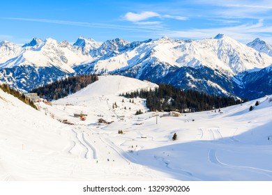 View of ski slope and amazing Austrian Alps mountains in beautiful winter snow, Serfaus Fiss Ladis, Tirol, Austria
