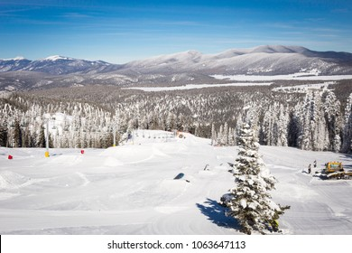 View at the ski slopes piste in the mountains of Angel Fire, New Mexico.