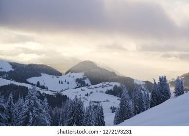 View of the skiing area near Söll in Tirol, Austria.