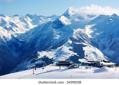 View of skiing area on Kitzsteinhorn glacier