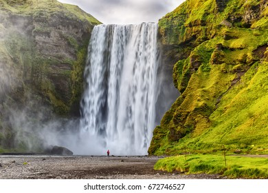 View of Skogafoss waterfall of Iceland.