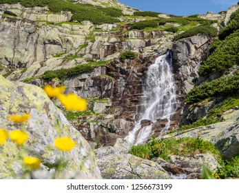 The view of Skok waterfall in the western part of High Tatras. High Tatras mountains, Slovakia