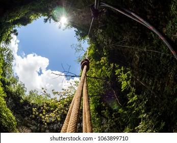 View to the sky at Goa Jomblang Tour near Yogyakarta, Indonesia