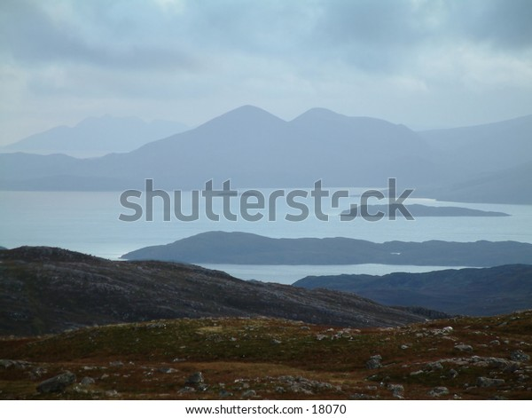 View of Skye from the Applecross Road Scotland,