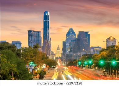 A View of the Skyline Austin, Texas at twilight