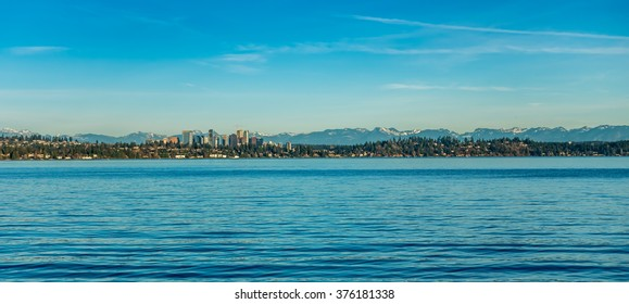A view for the skyline in Bellevue, Washington. Lake Washington in the foreground.